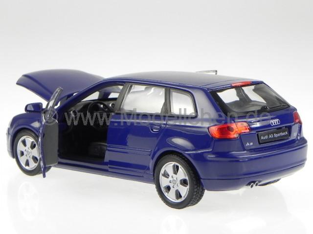 audi a3 sportback 2003 blau modellauto welly 1 24. Black Bedroom Furniture Sets. Home Design Ideas