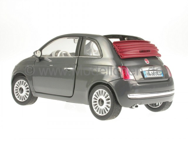 fiat 500 c 500c cabrio grau modellauto mondo 1 18. Black Bedroom Furniture Sets. Home Design Ideas
