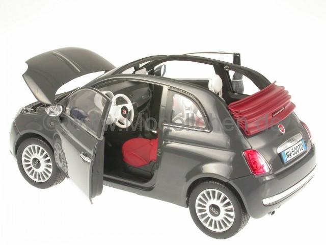 fiat 500 c 500c cabrio grau modellauto mondo 1 18. Black Bedroom Furniture Sets. Home Design Ideas