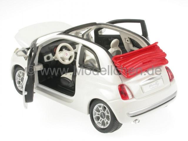 fiat 500 c cabrio weiss modellauto bburago 1 24. Black Bedroom Furniture Sets. Home Design Ideas