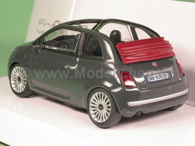 fiat 500 c cabrio schwarz modellauto mondo 1 43. Black Bedroom Furniture Sets. Home Design Ideas