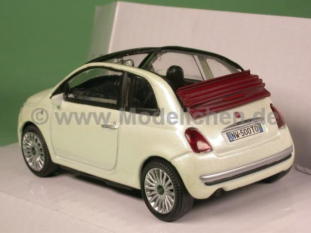 fiat 500 c cabrio weiss modellauto mondo 1 43. Black Bedroom Furniture Sets. Home Design Ideas