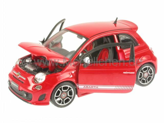 fiat 500 abarth rot modellauto 18 21043 bburago 1 24. Black Bedroom Furniture Sets. Home Design Ideas