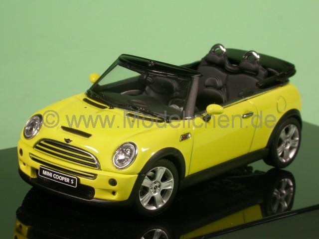mini cooper cabrio gelb modellauto autoart 1 43. Black Bedroom Furniture Sets. Home Design Ideas