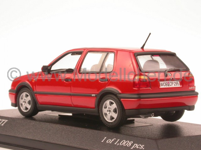 vw golf 3 gti rot modellauto minichamps 1 43. Black Bedroom Furniture Sets. Home Design Ideas