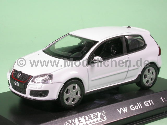 vw golf 5 gti weiss modellauto welly 1 43. Black Bedroom Furniture Sets. Home Design Ideas