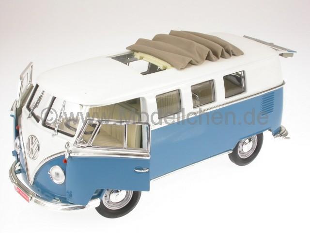 vw t1 bus bulli samba van blau modellauto yatming 1 18. Black Bedroom Furniture Sets. Home Design Ideas
