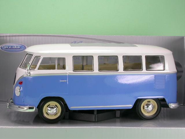 vw t1 bus bulli blau weiss modellauto welly 1 24. Black Bedroom Furniture Sets. Home Design Ideas