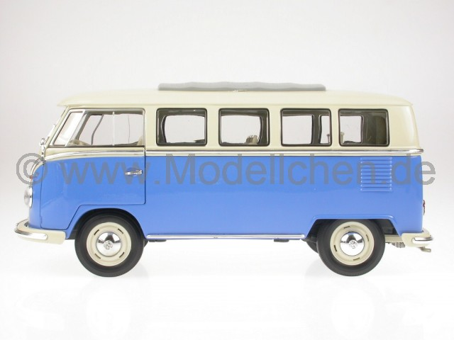 vw t1 bus bulli blau weiss modellauto welly 1 18. Black Bedroom Furniture Sets. Home Design Ideas