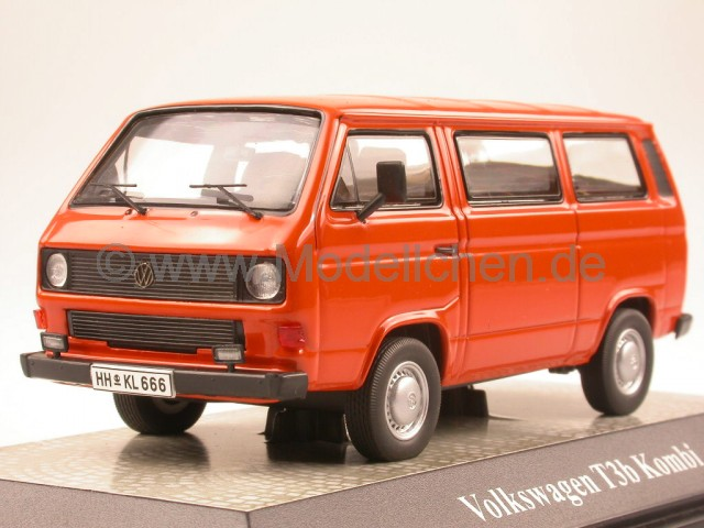 vw t3b t3 kombi bus bulli orange modellauto 13051. Black Bedroom Furniture Sets. Home Design Ideas