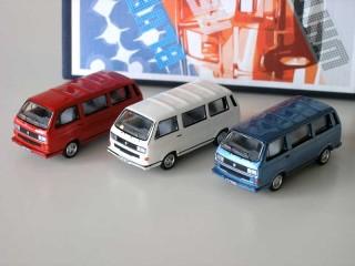 VW T3 Bluestar Whitestar Redstar 3x Bus in Box Modellauto BUB 1:87
