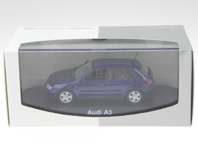 audi a3 8l 5 t rer blau modellauto minichamps 1 43. Black Bedroom Furniture Sets. Home Design Ideas
