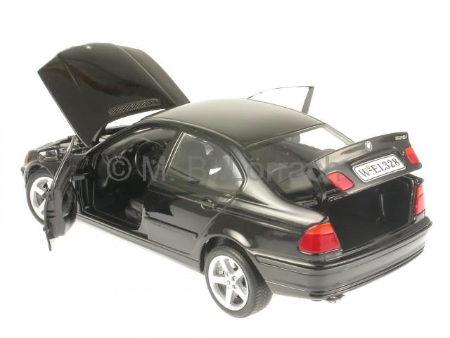 bmw e46 328i 3er reihe schwarz modellauto welly 1 18 ebay. Black Bedroom Furniture Sets. Home Design Ideas