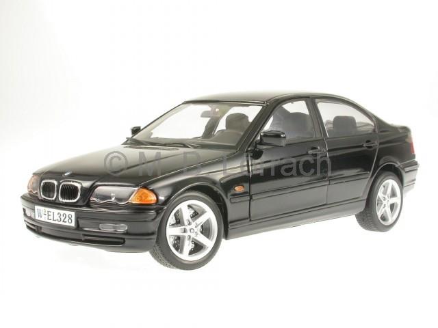 bmw e46 328i 3er reihe schwarz modellauto welly 1 18. Black Bedroom Furniture Sets. Home Design Ideas