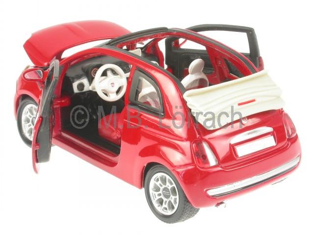 fiat 500 c cabrio 2009 rot modellauto bburago 1 24 ebay. Black Bedroom Furniture Sets. Home Design Ideas