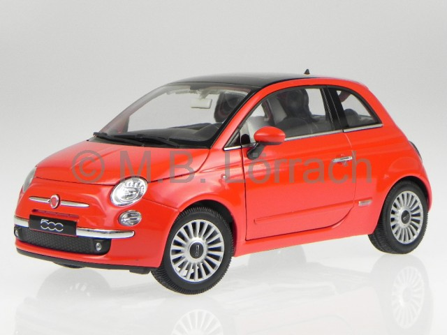 fiat 500 2007 rot modellauto 18012 welly 1 18 ebay. Black Bedroom Furniture Sets. Home Design Ideas