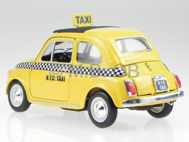 fiat 500 nuova new york taxi yellow cab model car 21033. Black Bedroom Furniture Sets. Home Design Ideas