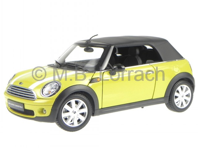 mini cooper cabrio r57 2009 gelb modellauto 8749y kyosho 1 18. Black Bedroom Furniture Sets. Home Design Ideas
