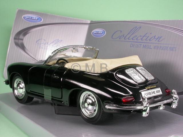 porsche 356 b cabrio schwarz modellauto welly 1 24 ebay. Black Bedroom Furniture Sets. Home Design Ideas