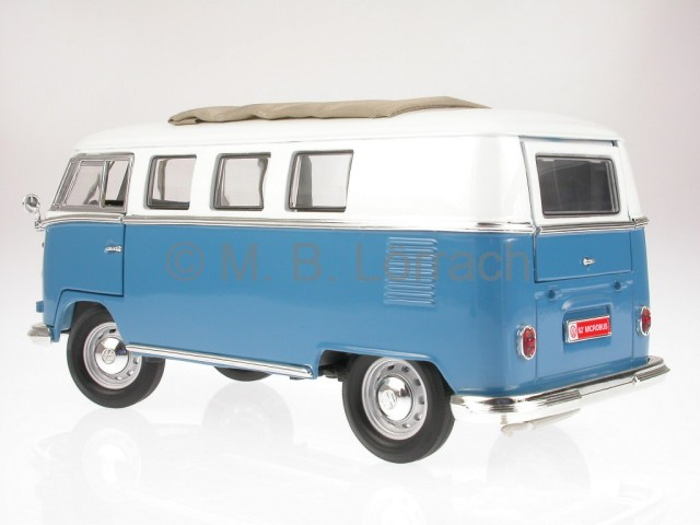 vw t1 bus bulli samba van blau modellauto yatming 1 18 ebay. Black Bedroom Furniture Sets. Home Design Ideas