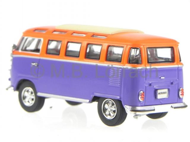 vw t1 samba bus bulli 1962 blau orange modellauto yatming. Black Bedroom Furniture Sets. Home Design Ideas