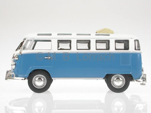 vw t1 samba offen blau wei bus bulli modellauto yatming 1. Black Bedroom Furniture Sets. Home Design Ideas